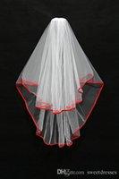velo negro al por mayor-En stock Cortos Velos de novia de dos capas Blanco / Rojo / Negro Borde de la cinta Con peine Veil Stock Envío gratuito Accesorios de boda