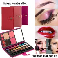 Wholesale Multicolor Lipstick - 33Colors Makeup Set Eye Shadows 1 Blush 1 lipstick mirror Professional Makeup Sets Leather Wallet Eyeshadow multicolor wholesale