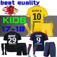 Wholesale Flash Football - kids Kits child Football Shirt survetement verratti Black third cavani di maria maillot de foot 17 18 boys Mbappe Draxler NEYMAR JR JERSEY