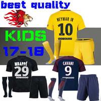 Wholesale Boy Flashing - kids Kits child Football Shirt survetement verratti Black third cavani di maria maillot de foot 17 18 boys Mbappe Draxler NEYMAR JR JERSEY
