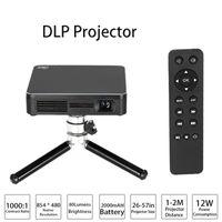 hd игры для пк оптовых-HDP200 DLP светодиодный проектор HD 1000: 1 Коэффициент контрастности WiFi Miracast Airplay HDMI со штативом для домашнего кинотеатра телефоны PC Game Camera