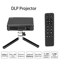 Wholesale video camera business - HDP200 DLP LED Projector HD 1000:1 Contrast Ratio WiFi Miracast Airplay HDMI With Tripod for Home Theater Phones PC Game Camera