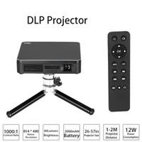 pc spielkamera großhandel-HDP200 DLP LED Projektor HD 1000: 1 Kontrastverhältnis WiFi Miracast Airplay HDMI Mit Stativ für Heimkino Handys PC-Spiel Kamera