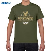 Wholesale Aliens Marines - 2017 New Arrival T-Shirt graphics Aliens US Colonial Marines inspired Film retro style t shirt graphics Print Tee Shirt