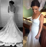 Wholesale Ivory Memaid Wedding Dresses - 2017 Sexy Backless Memaid Wedding Dresses Spaghetti Straps Appliques Long Bridal Gowns Western Country Beach Garden Style Wedding Gowns