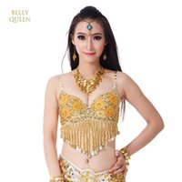 Wholesale new arrival costumes belly dance online - New Arrival Twinkling Sequined Tassels Belly Dance Bra Top Beaded Fringe Dancing Costume Sexy Dancing Costume Stage amp Dance Wear