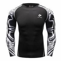 Wholesale Athletic Tops Long Sleeve - Wholesale- Under t-shirt homme Athletics Tops Blouse Breathing Compression Shirt Armor Fitness t-shirt Men's Women's T-shirt