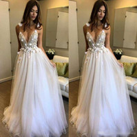 Wholesale V Neck Wedding Gown Beaded - Boho Beach Wedding Dresses 2017 A-Line Deep V-Neck Backless 3D Applique Beaded Berta With Flowers Floor Length Tulle Straps Bridal Gowns