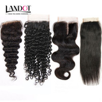 Wholesale 12 14 Brazilian Hair - Brazilian Virgin Human Hair Lace Closure Peruvian Malaysian Indian Cambodian Mongolian Body Wave Straight Loose Deep Kinky Curly Closures