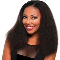 peruca loira curly loira venda por atacado-Mongolian 9A Cabelo Humano Yaki Reta Peruca Dianteira Do Laço Com o Cabelo Do Bebê Linha De Cabelo Natural Glueless Yaki Em Linha Reta Peruca Cheia Do Laço