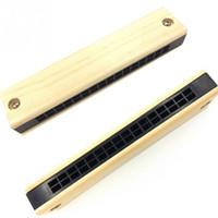 armónica de 12 agujeros al por mayor-Instrumento de armónica de madera educativo musical para niños regalo de niños al azar Kid