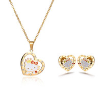 Wholesale Wholesale Kitty Tops - Factory Direct Top Quality Hello Kitty Seris Jewelry Stainless Steel Kids Jewelry Sets Necklace And Earring Sets Mixed Style