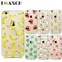 Wholesale Banana Phones - New Summer Fruit Banana Unicorn Transparent Silicone Soft TPU Cases for iPhone 7 8 Plus 6 6s 5 5S Cactus Flamingo Phone Covers