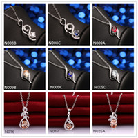 Wholesale Cheap Sterling Silver Pendants - New arrival fashion women's gemstone 925 silver Necklace Pendant 10 pieces a lot mixed style,cheap sterling silver Pendant Necklaces EMN30