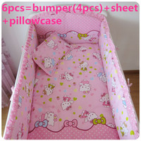 Wholesale Kids Cots - Promotion! 6PCS Hello Kitty 100% Cotton Unisex Baby Crib Sheets Cot Set Kids Bedclothes ,include(bumpers+sheet+pillow cover)