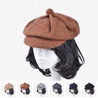 Wholesale Women Newsboy Cashmere - 3 Color new fashion corduroy reported bonnet octagonal cap beret hat women's outdoor winter hat cap Newsboy Beret Jason Statham F185