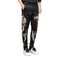 Cotton space manual - Mens Joggers Pants Men Pencil Pants Chinese Dragon Pure Manual Embroidery Space Cotton Sweatpants Trousers Plus Size