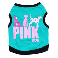 ropa de cachorro rosa al por mayor-Envío gratis 2016 encantadora moda rosa carta mascota cachorro de perro chaleco ropa de verano camisa del perro pequeños perros ropa 4 colores