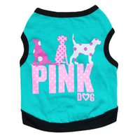 ingrosso cucciolo rosa-Trasporto libero 2016 bella moda rosa lettera pet cucciolo di cane vestiti maglia estate cane camicia cani di piccola taglia abbigliamento 4 colori