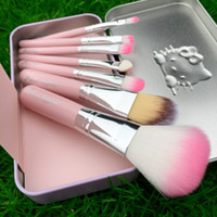 Wholesale Wholesale Mini Sweet Box - New Hello Kitty Sweet pink 7 Pcs Mini Makeup brush Set cosmetics kit de pinceis de maquiagem make up brush Kit with Metal box 5pc
