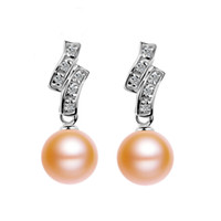Wholesale Pink Real Pearls Earrings - 8-9MM Real Freshwater Pearl Earrings With Sterling Silver Fitting Pearl Stud Earrings AAA Natural Pink Women Gift Party Earring