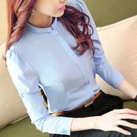 korece zarif kadın ofis modası toptan satış-Kadın Ofis Gömlek Uzun Kollu Bluzlar Yeni Gelenler Moda 2016 Kore Bayanlar Zarif Şifon Çalışma Gömlek Tops Kırmızı Beyaz Mavi