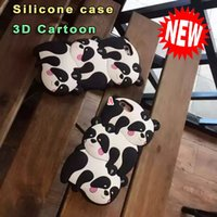 3D Panda Urso Silicone GEL Soft Case Preto bonito da geléia do animal dos desenhos animados para Iphone 6 6S mais 4.7 5.5 Iphone6 ​​SE 5 5S 5TH Telefone da pilha da pele