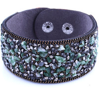 Wholesale H Style Bracelet - Wholesale-BOHO Style Colorful Natural Stone Ethnic Leather Simple Design Width H Cuff Bracelet Bangle Women Party Bohemian Elegant Punk