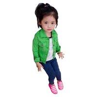 Wholesale Retail Denim Jacket Girls - Girls jacket Retail 1 PCS 2016 denim jacket candy color Kids Child Baby outerwear girls coat children clothing