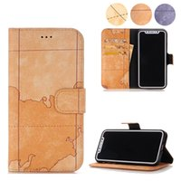 Wholesale Map Pattern Pu Leather - For iPhone 8 World Map Pattern Wallet Case With Card Slots Kickstand PU Leather Flip Cover For iPhone 6S 6 Plus Samsung S7 Edge OppBag