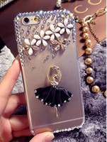 Wholesale Iphone Cases For Girls 3d - Fashion Rhinestone 3D Ballet Dancing Girl Beautiful Flower Diamond Hard Case Cover For iphone 6 plus 5s 5c 4s Transparent Cases