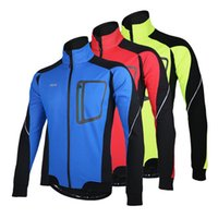 Wholesale Sports Jerseys Winter - Long Sleeve Winter Warm Thermal Cycling Jacket ARSUXEO Windproof Breathable Sport Jacket Bicycle Clothing Cycling MTB Jersey 3 Color