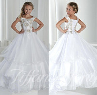 Wholesale Short Long Pageant Dress Girl - Long Kids Girl's Pageant Party Dresses Cap Sleeves Lace Up Back Princess Tiered Tulle Crystal Flower Girl Dresses Gowns For Teens BO9920