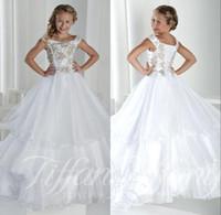 çocuklar katmanlı prenses elbisesi toptan satış-Uzun Çocuklar kızın Pageant Parti Elbiseler Cap Kollu Lace Up Geri prenses Katmanlı Tül Kristal Çiçek Kız Elbise Modelleri Gençler Için BO9920