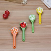 Wholesale Small Ceramic Fruit - Wholesale- New hot sale 2pcs Small Spoon Sweet Fruit Soup Spoon Tableware Wind Minor Children Tableware Ceramic Household Spoon
