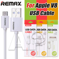 Wholesale Micro Mobile Charger - Remax Cables Fast Charge 2A 1m Micro USB Cable 2.0 Mobile Phones Android V8 Charger Data Line Cable With Retail Package