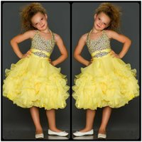 Wholesale Glitz Pageant Knee Length - Cute Yellow Beaded Crystal Halter Pageant Dresses for Girls 2017 Ruffles Organza Glitz Pageant Dress Kids Prom Dresses