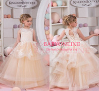 wedding dress tieres with best reviews - 2016 Lovely Champagne New Princess Ball Gown Flower Girls' Dresses Crew Neck Corset Back Lace Appliques Tieres Skirts Toddler Girls's Dress