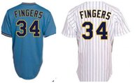 Wholesale Finger Man - 34 Rollie Fingers Jersey Mens White Pinstripe Blue Pullover Jerseys Stitched