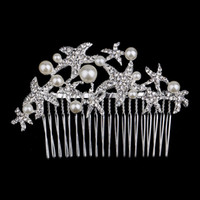 Wholesale Starfish Hair Comb Wedding - 100pcs Fashion Bridal Wedding Starfish Rhinestones Pearls Women Hair Clip Comb Hair Pin Accessories Jewelry WA0568