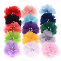 Wholesale Diy Flower For Hairclip - Wholesale 100PCS Pearl Chiffon Flower for Hair Accessories DIY flowers for Baby Headband Handmade Hair flower Without Hairclip Hairbow