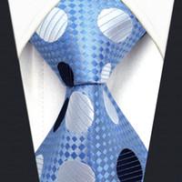 Wholesale Classic Silk Neckties - Y5 Polka Dot Azure Silver Navy 100% Silk with handmade Classic Men's Accessories Ties Necktie