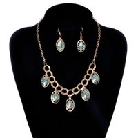 Wholesale Wholesale Ethnic Miao Silver - Hot Creative Fashionable Europe and America necklace earring sets chain selling ethnic style jewelry sets Wholesale 20 sets Epacket Free
