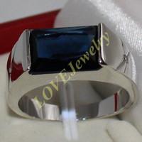 ingrosso pietra oblunga-Anello in argento sterling 925 oblungo blu con zaffiro, lato CZ, per gli uomini