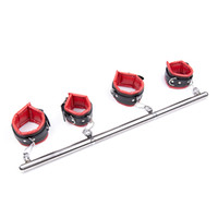 Wholesale Bondage Bars - Adult BDSM Games Heavy Duty Portable Detachable Steel Leg Spreader Bar Restraint System With Padded Leather Ankle & Wrist Cuffs Bondage Gear