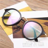 Wholesale Metal Optical Spectacles - Big Oval Eyeglasses Frame Vintage Oval Black Eyeglasses Frame Plain Glass Clear Spectacles Glasses Unisex Optical Clear Lenses Spectacles