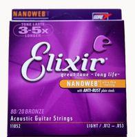 Elixir Acoustic Guitar Strings Phosphor Bronze Shade 11025 16027 16052 11052 11002 11027 11100 16002 16077 16102 6pcs=1set