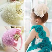 Wholesale Korean Girl Brown Hair - Korean Children's Jewelry Diamond Pearl Headdress Head Flower Hair Accessories for Girls Princess Wedding Headdress