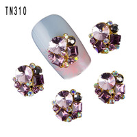 Wholesale Jewel Nail Art - ail art decorations Blueness 10Pcs New 2017 Glitter Pearl with Rhinestones,3D Metal Alloy Nail Art Decoration Charms Studs,Nails 3d Jewel...
