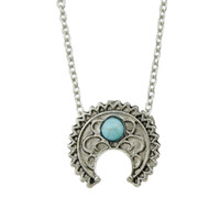 Wholesale Antique Turquoise Jewelry - Boho Jewelry Silver Color Link Chain With Antique Silver Color Green Stone Horn Pendant Necklace Accessories
